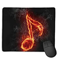 Cheng xiao Mouse Pad Love Fire Music Notes Rectangle Rubber Mousepad Non-toxic Print Gaming Mouse Pad with Black Lock Edge,9.8 * 11.8 in,ベーシック マウスパッド ゲーム用 標準サイズ