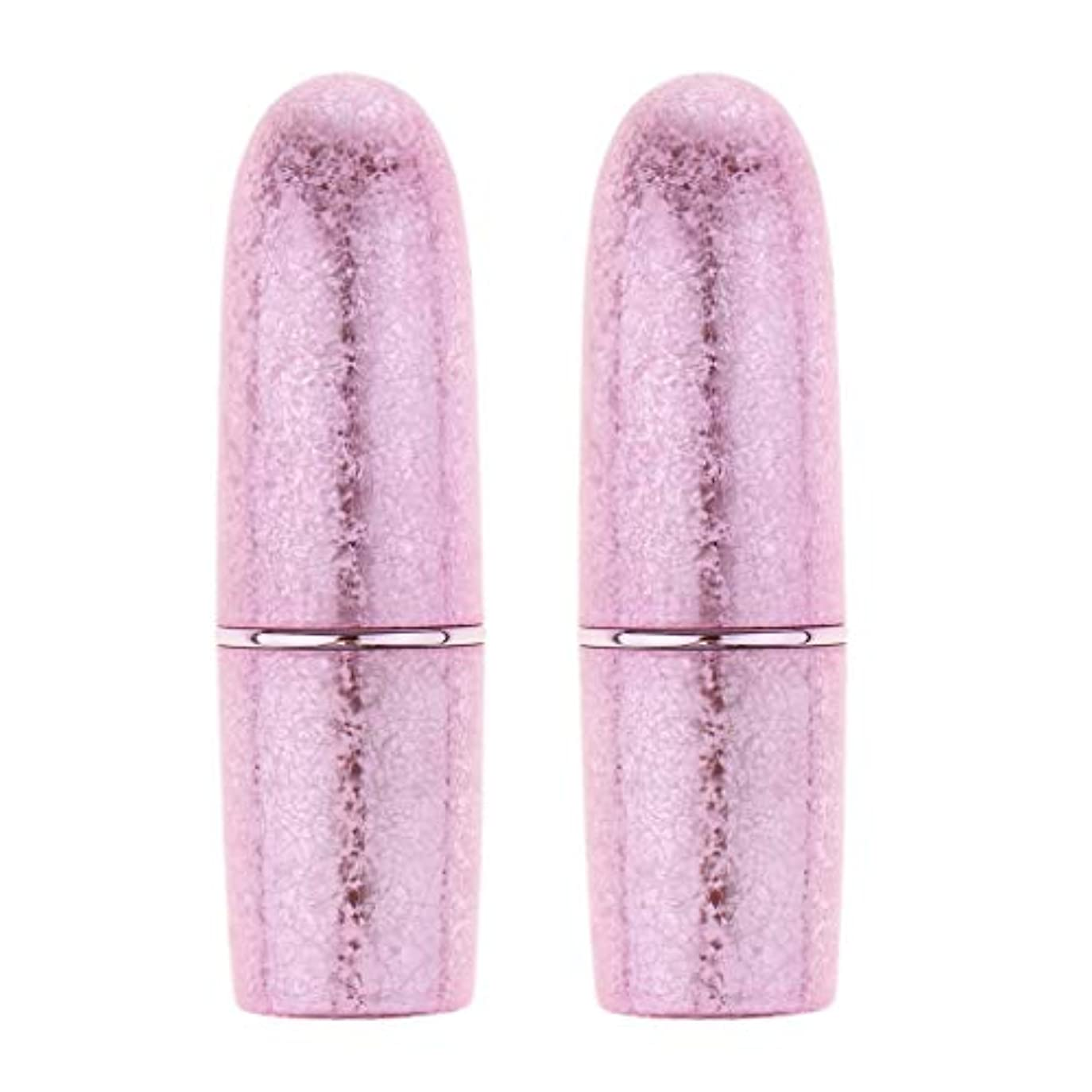 ぬいぐるみフェザー摂氏度perfk 2本 リップスティック 口紅 DIY 空チューブ 手作り メイクアップ 5色選べ  - ピンク