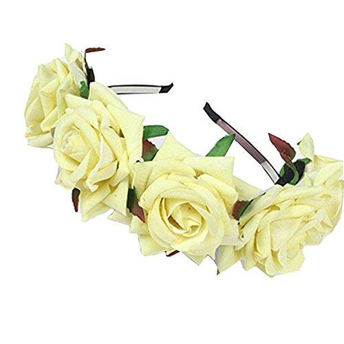 [해외]여성 머리 장식 장미 헤어 밴드 웨딩 화환 액세서리 여자 머리띠 꽃 머리 화장도 결혼식 피로연/Women`s Hair Ornament Roses Hair Band Wedding Wedding Accessories Girls Headband Flower Head Kimono also wedding reception