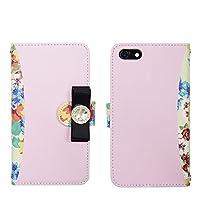 iPhone 7 ケース 手帳型 花柄 リボン デコ スマホカバー PUレザー 鏡付き カード収納 スタンド機能 マグネット式 best_vc-021 (C.ピンク)