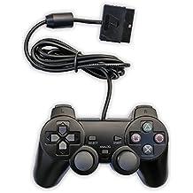 Aoityle 有線 PS2 対応 アナログコントローラー playstation2 用 ゲームパッド 本机 日本語説明書 1年保証付き(黒い1)