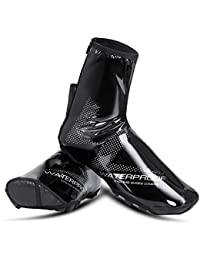 WHEEL UP 防水バイクシューズカバー 反射 冬 防風 暖かい 保温 ハイサイクリングシューズカバー オーバーシューズ フリースライニング 男女兼用 XX-Large(11-12.5) ブラック WHEELUP-011LF1001