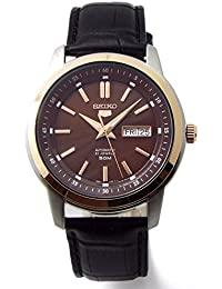 SEIKO 5 セイコー ファイブ 自動巻 オートマチック 50m防水 腕時計 本革ベルトセット 国内セイコー正規流通品 ブラウンダイヤル SNKM90KC [並行輸入品]