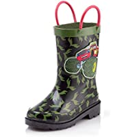 Nickelodeon Blaze and The Monster Machines Boys Waterproof Easy-On Handles Rubber Rain Boots - Toddler and Little Kid
