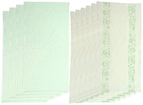 村信 10枚組 ドビー織 カエル&水玉柄 仕立て布おむつ グリーン TK718 日本製