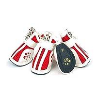Wuhuizhenjingxiaobu001 犬の靴、犬のアウトドアスポーツシューズ、犬の雨のブーツ、犬の通気性のカジュアルメッシュシューズ、ペット用品、赤、青、ピンク(1-5#) 快適で通気性 (Color : Red, Size : No.4)