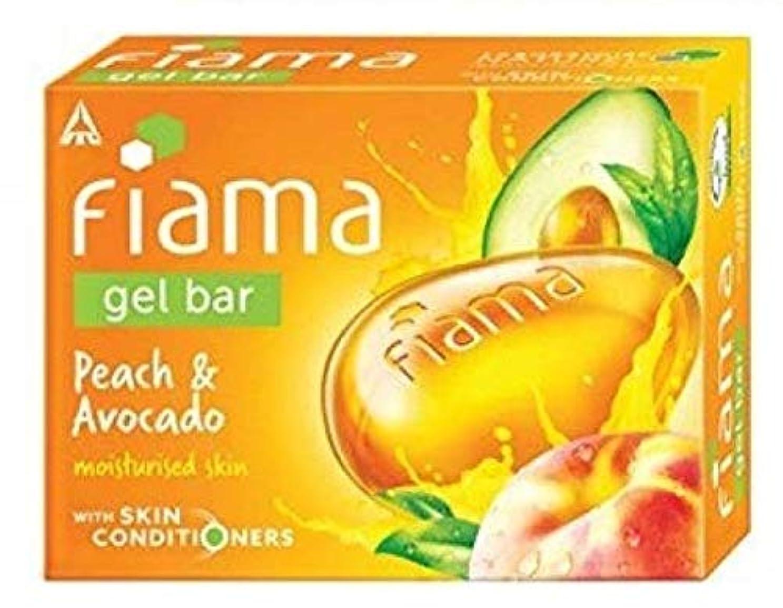 寛解側面札入れFiama Gel Bathing Bar, Peach and Avocado, (3 * 125g)