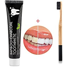 HailiCare Teeth Whitening Kit - Bamboo Charcoal Toothbrush + Bamboo Charcoal Toothpaste 3.7oz Mint Flavor - Tooth Whitener