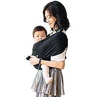 【ママリ口コミ大賞受賞】コニー抱っこ紐 (Konny by Erin) スリング 新生児から20kg 収納袋付き 国際安全認証取得 ぐっすり抱っこひも (ブラック) (S)