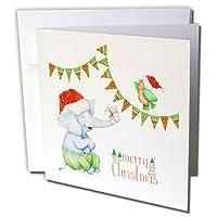 Anne Marie Baugh - クリスマス - かわいいクリスマス象と鳥 メリークリスマス付き - グリーティングカード Individual Greeting Card