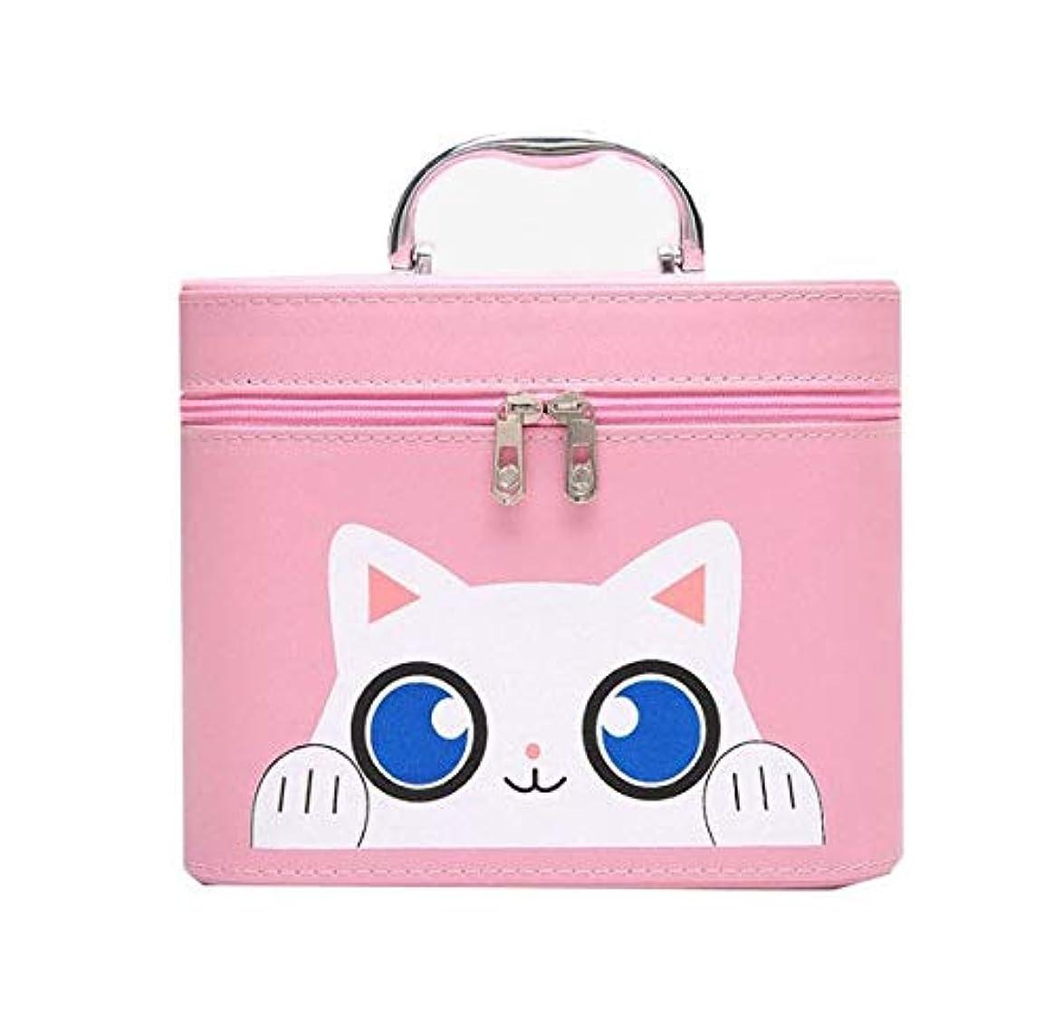 ペット太平洋諸島六化粧箱、大容量漫画猫化粧品ケース、ポータブル旅行化粧品ケース、美容ネイルジュエリー収納ボックス (Size : S)