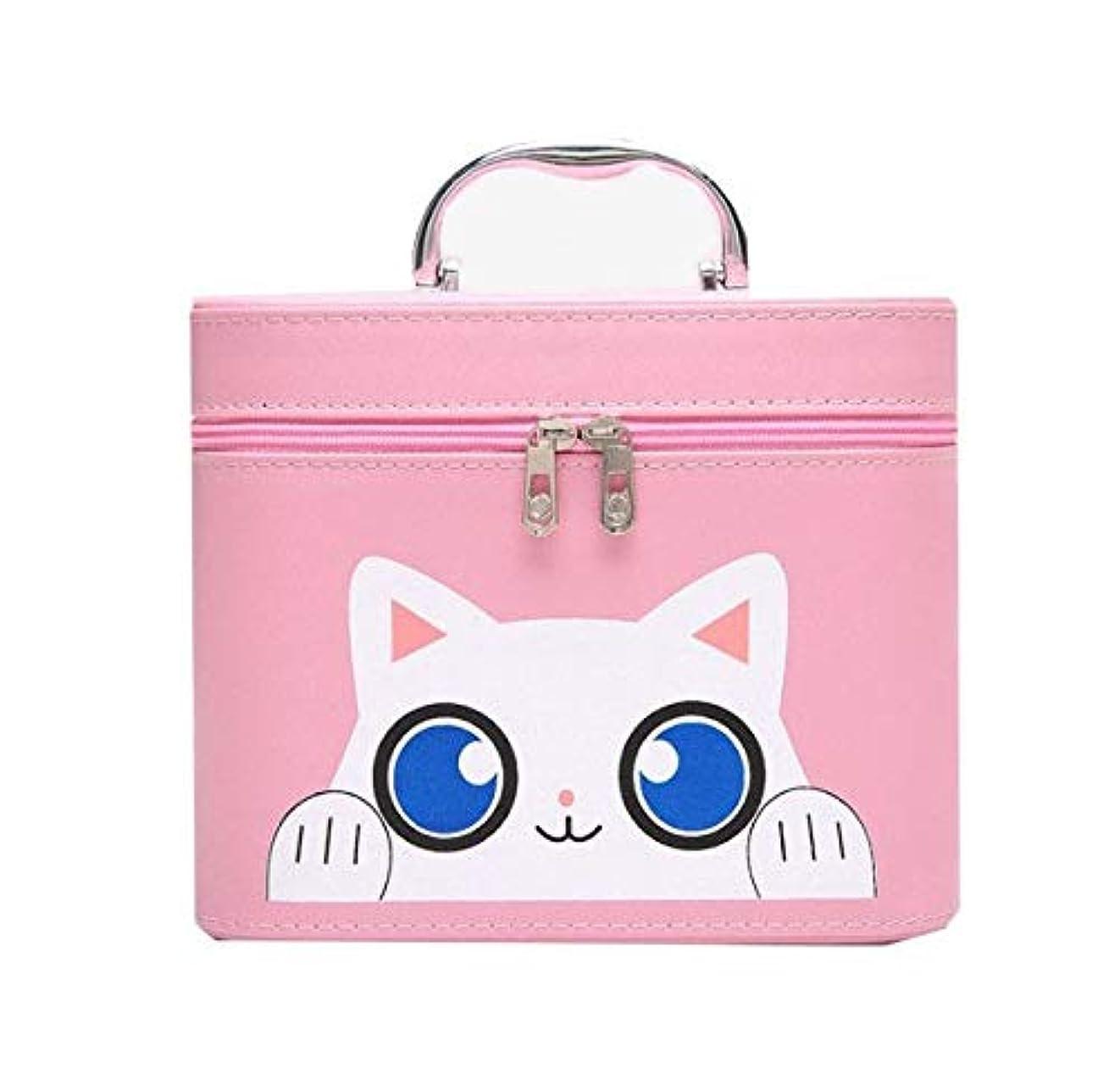 青不実とまり木化粧箱、大容量漫画猫化粧品ケース、ポータブル旅行化粧品ケース、美容ネイルジュエリー収納ボックス (Size : S)
