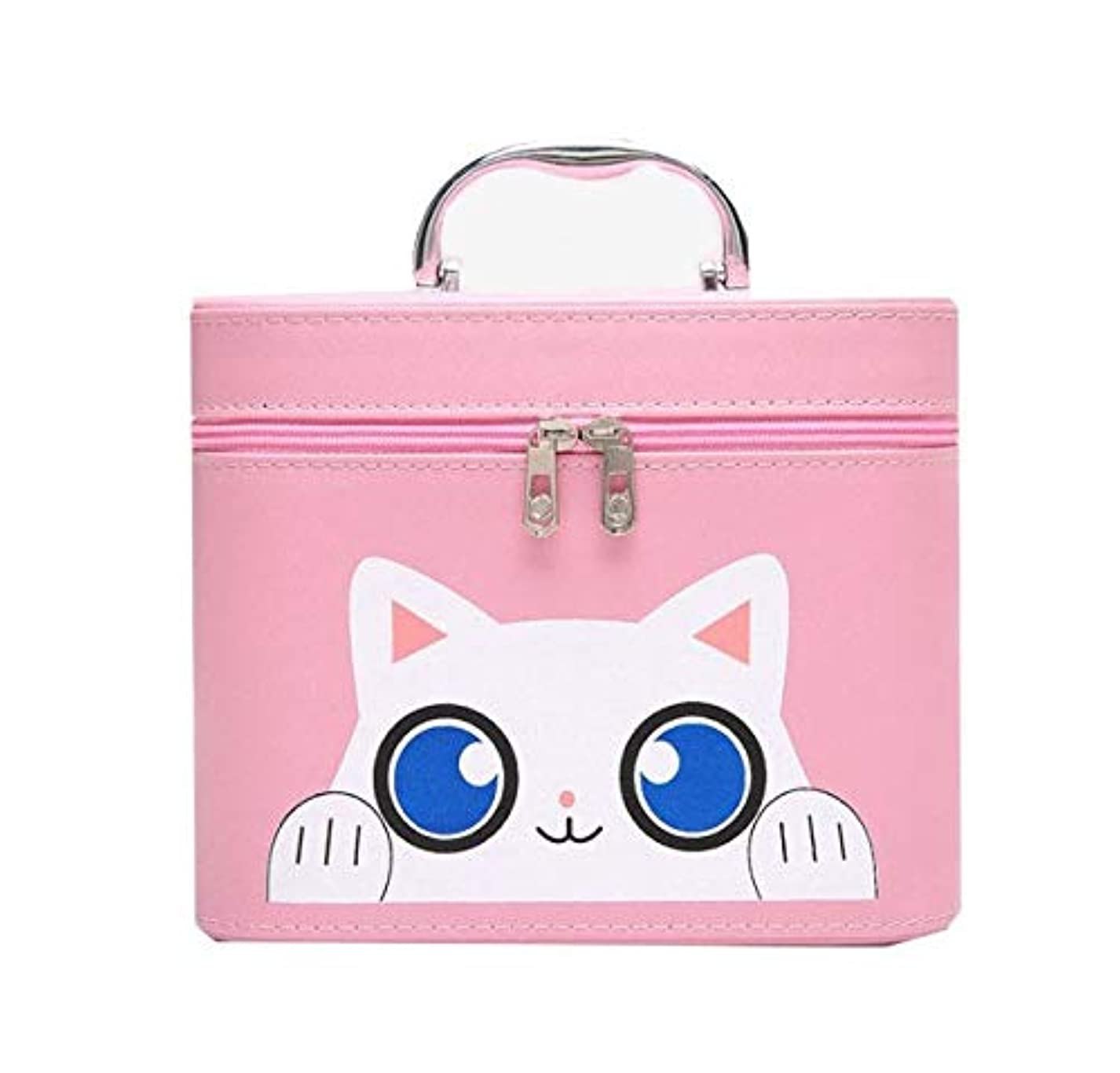 白菜急勾配の国内の化粧箱、大容量漫画猫化粧品ケース、ポータブル旅行化粧品ケース、美容ネイルジュエリー収納ボックス (Size : S)