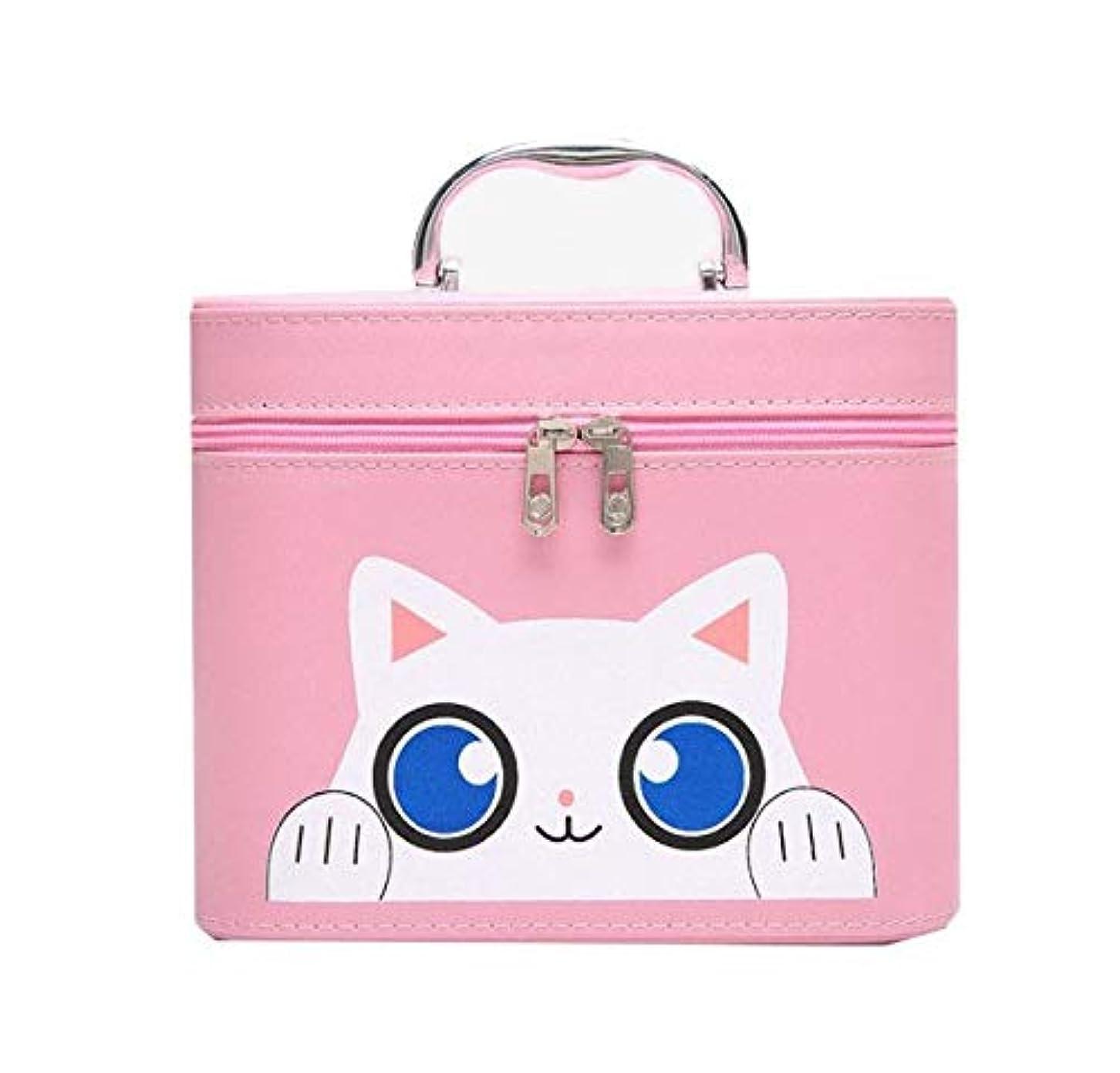 遺産症候群予言する化粧箱、大容量漫画猫化粧品ケース、ポータブル旅行化粧品ケース、美容ネイルジュエリー収納ボックス (Size : S)