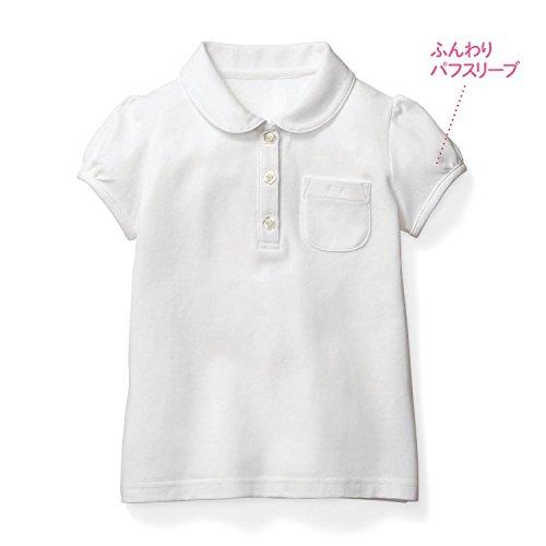 【通園・通学・制服として】ガールズ半袖ポロシャツ  オフホワイト サイズ:140