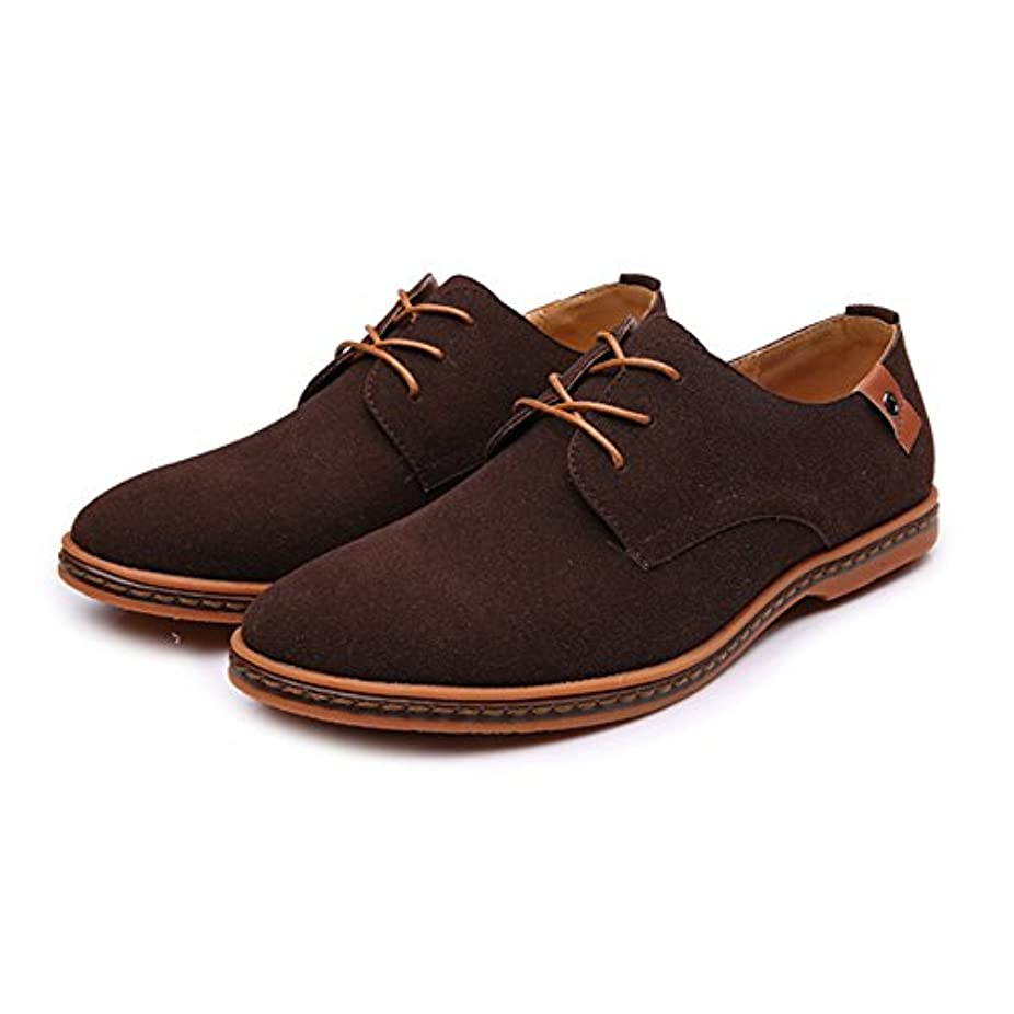 明確に現実的望まない革靴 メンズ  ローファー カジュアルシューズ レースアップ オックスフォードシューズ マイクロファイバー レザー ラージサイズ カジュアル (Color : Coffee, サイズ : CN27.5)