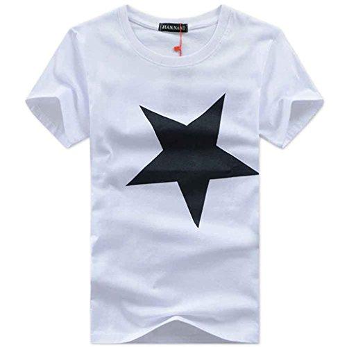 DAISUKI メンズtシャツ 半袖ハイグレード ファッション プリント星 Tシャツ カットソー 吸汗Tシャツ メンズ レギュラーカラードレスシャツ半袖カジュアル シンプル (ブラック,ホワイト,グレー) 綿(コットン) (2XL, ホワイト)