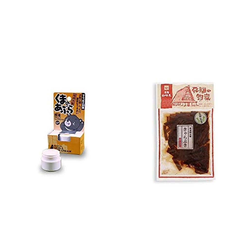 焼くタンク肉[2点セット] 信州木曽 くまのあぶら 熊油スキン&リップクリーム(9g)?飛騨山味屋 奥飛騨山椒きゃらぶき(120g)