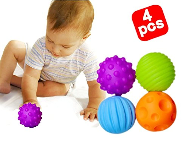 Developmental Sensory Ballセット、耐久性4パックSensoryボール、ソフト& Texturedボール赤ちゃん&幼児のため