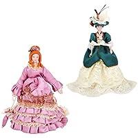 Fenteer 2個入り 1/12磁器人形 ドールハウス 小型 15cm ビクトリア女性人形