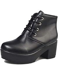 [ビューメンス] 厚底ショートブーツ 22cm~27.5cm レースアップ 太ヒール 大きいサイズ ブラック/ホワイト