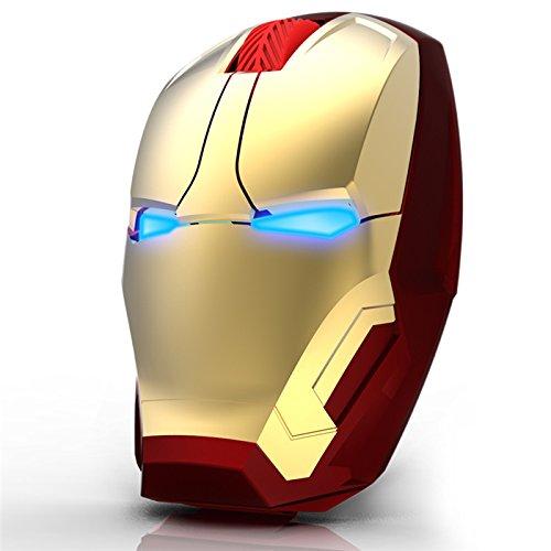 MQman アイアンマン光学式無線マウス LEDライト大人気Iron Man個性的ワイヤレスwireless光学式USBマウス2.4GHzパソコン周辺機器 (ゴールド) [並行輸入品]