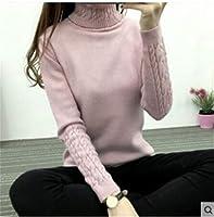 格安Pullovershigh品質の女性のタートルネックのセーターの冬の女性のカシミヤニットの女性セーターやプルオーバー女性のジャンパートップスプルオーバー (Color : Pink, Size : M)