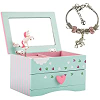 Amitié Lane Unicorn Jewelry Box for Girls & Kids Unicorn Jewelry for Girls - Two Unicorn Gifts for Girls Including Mint Green and Pink Unicorn Music Box and Unicorn Charm Bracelet