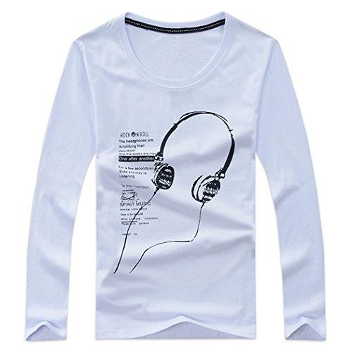 MIOIM メンズ Tシャツ イヤホン プリント柄 長袖 カットソー 男の子 プライマーシャツ ブラウス カジュアル サラリーマン 通勤 学生 登校 スポーツ用 トップス
