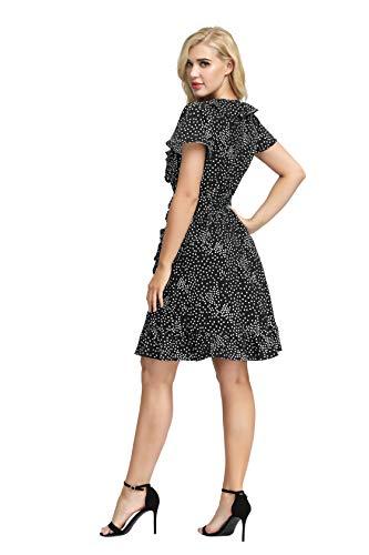 CURLBIUTY Women's Print Dresses Casual Summer V Neck Ruffle Wrap Short Dress - Black - Large
