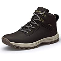 JITUUE Waterproof Snow Boots for Men Hiking Non Slip Work Shoes Outdoor Mid Lace Up Ankle Booties