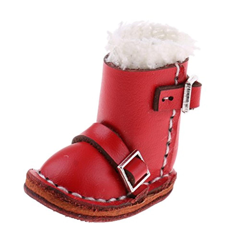 Lovoski 全3色 ファッション PUレザー製 レース バックルブーツ シューズ 靴 12インチブライス人形用 アクセサリー 2個 - レッド