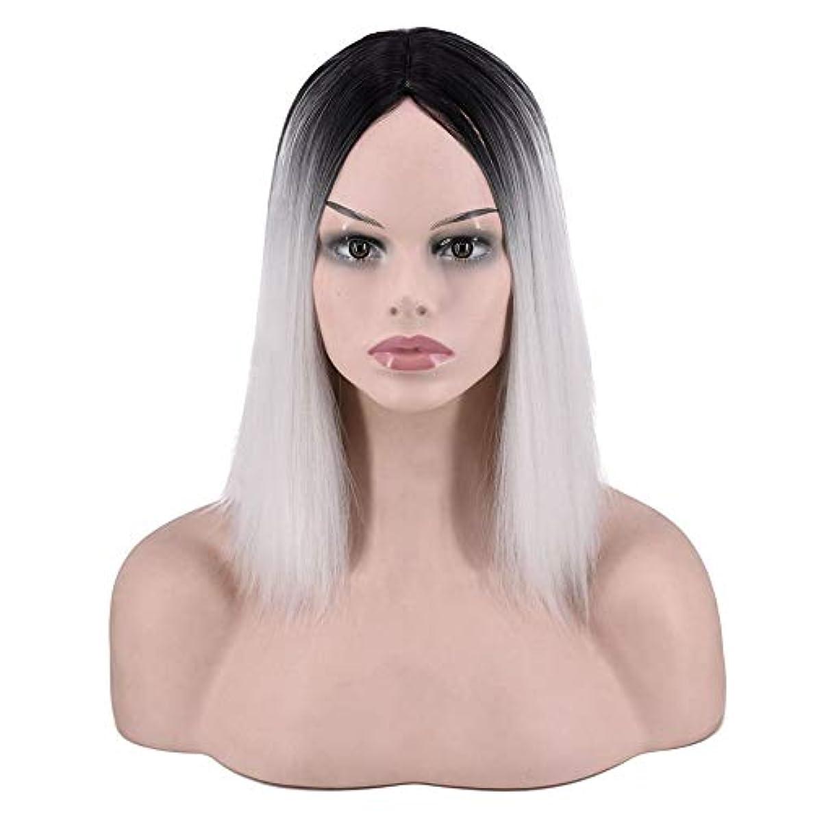 貢献コーンウォール書誌YOUQIU 女子ショートストレートウィッグ肩の長さの合成ボブヘアウィッグ耐熱フル?ヘアウィッグウィッグ (色 : Photo Color)