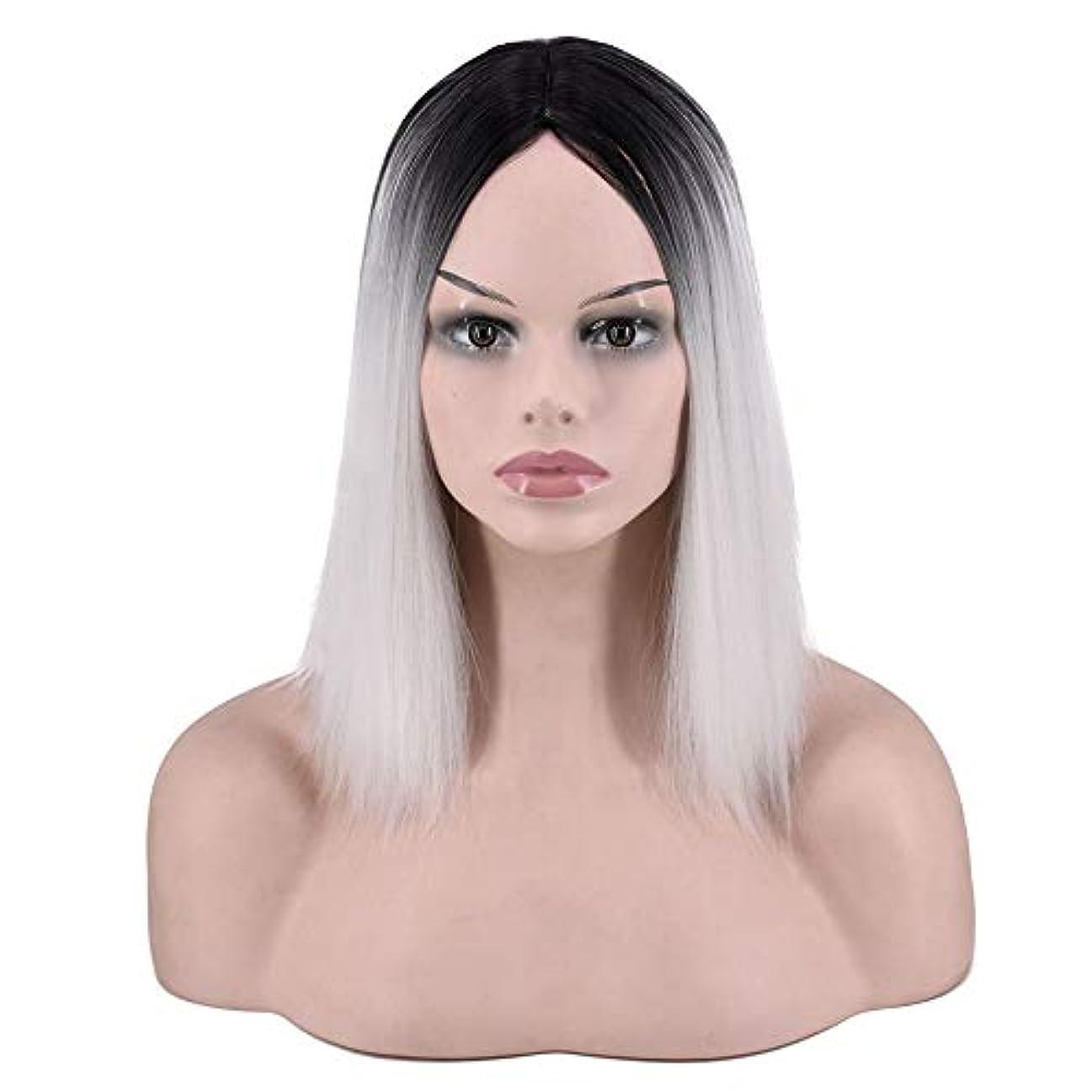 アイデア音楽ファンシーYOUQIU 女子ショートストレートウィッグ肩の長さの合成ボブヘアウィッグ耐熱フル?ヘアウィッグウィッグ (色 : Photo Color)