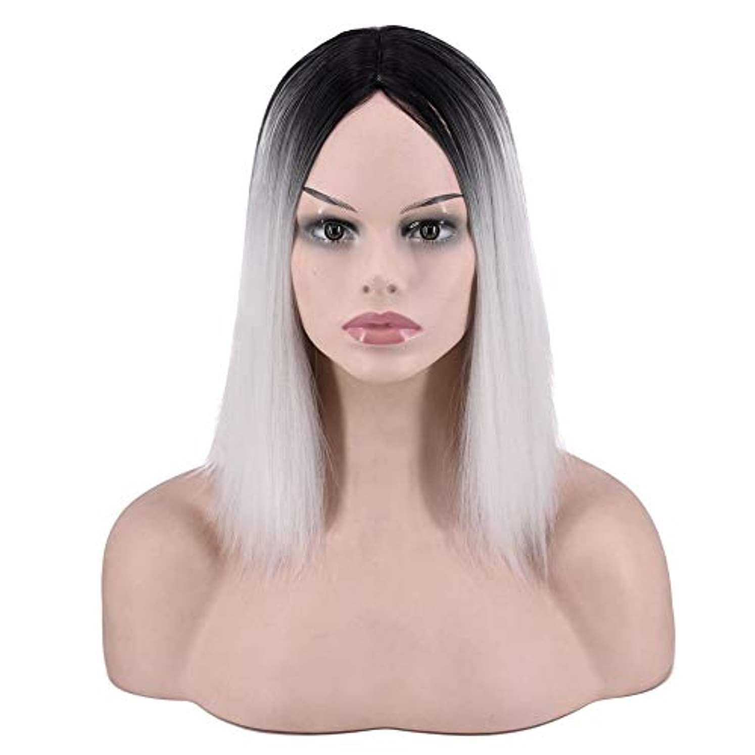 気分が良いペネロペストレンジャーYOUQIU 女子ショートストレートウィッグ肩の長さの合成ボブヘアウィッグ耐熱フル?ヘアウィッグウィッグ (色 : Photo Color)
