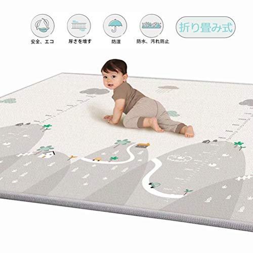 ベビープレーマット 衝撃緩和 安心 LDPE素材 安全 防水 滑り止め加工 ベビーマット両面 200*180*1cm 新乳児から対象 かわいいベビーマット