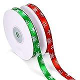 クリスマス リボンテープ 緑 赤 ラッピング オーナメント プレゼント包装 Xmasツリー 装飾用 手芸材料 可愛い (2個)