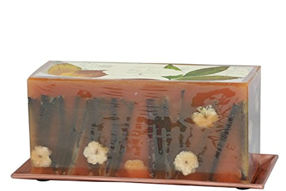 名詞センチメンタル時々Rosy Rings 3芯レンガ植物キャンドル - 蜂蜜タバコ