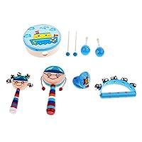 Fenteer 全7種類 打楽器おもちゃ 楽器玩具 玩具 パーカッションセット ウッド - ボーイ7個-1