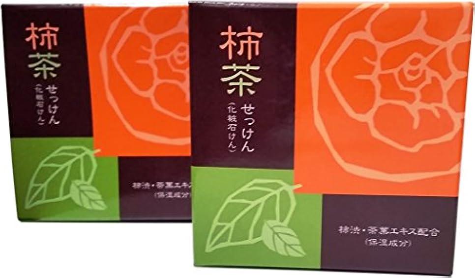 鉄道フィットローラー柿茶せっけん 地の塩社 2個セット 80g×2 KTソープ