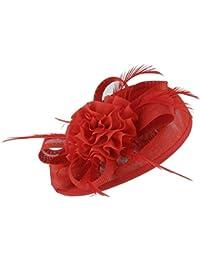GEMVIE レディース ミニハット ヘッドドレス 花飾り 無地 ヘアクリップ ウェディングハット 髪飾り 結婚式 パーティー レトロ 欧米風 レッド