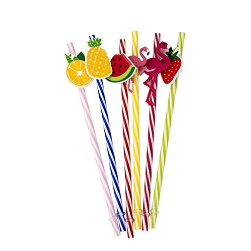 最大化するではごきげんようライドAmosfun 25ピース飲料ストロー再利用可能なプラスチックストローフラミンゴパイナップルハワイパーティー結婚式誕生日パーティー装飾用品