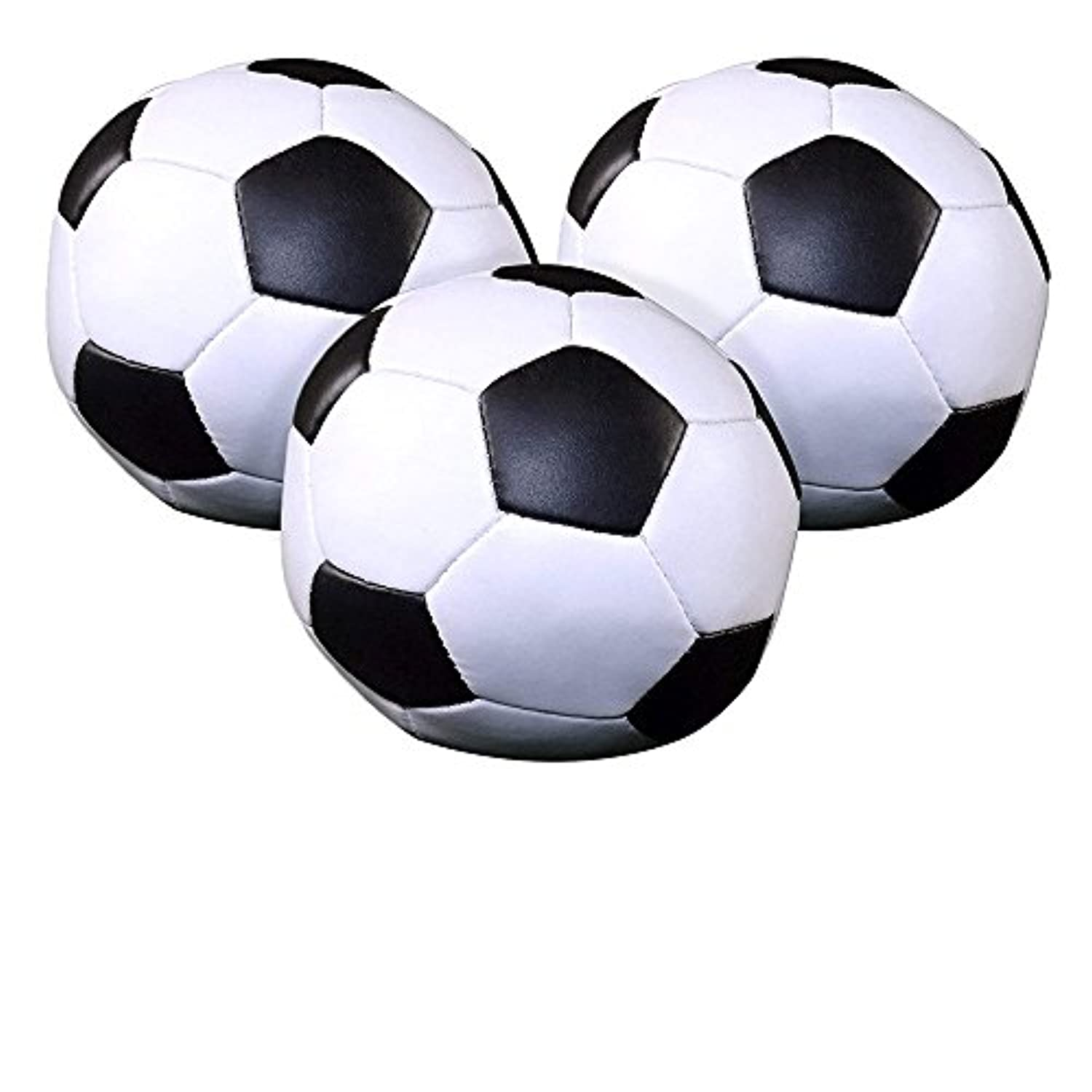 (Soccer Ball) - Set of 3 Soccer Ball 10cm Pillow Ball, Soft Poly-Filled Squeeze Toys.