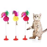 猫の羽のベルボールのおもちゃ、底吸盤、おかしい遊ぶ子猫ペットのティーザーのおもちゃ、1PCのランダムカラー丈夫で耐久性がある