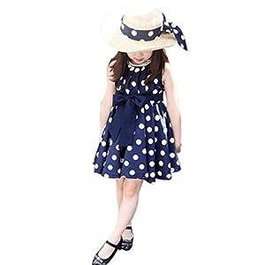 Aliciga 子供 ワンピース トッド柄 ドレス シフォン チャイルド 袖なし パーティー ガールズ ゆったり 夏 子どもドレス 女 可愛い キッズ スカート 子供服 女の子用 (L(120), ブルー)