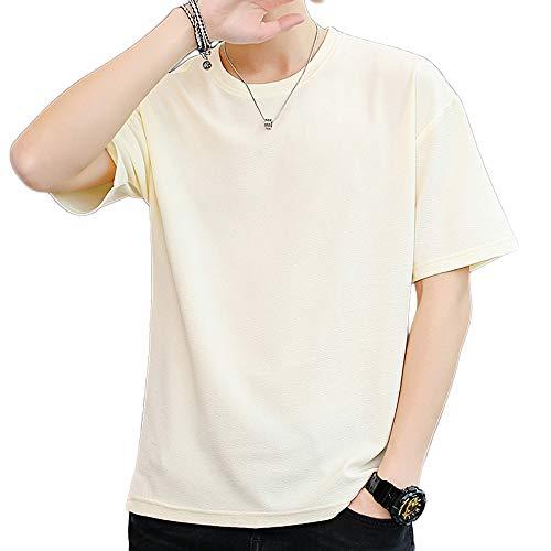 7a88363f2ae851 2019夏服 メンズ Tシャツ 五分袖 カジュアル 無地 柔らかい おしゃれ 軽い 半袖 Tシャツ