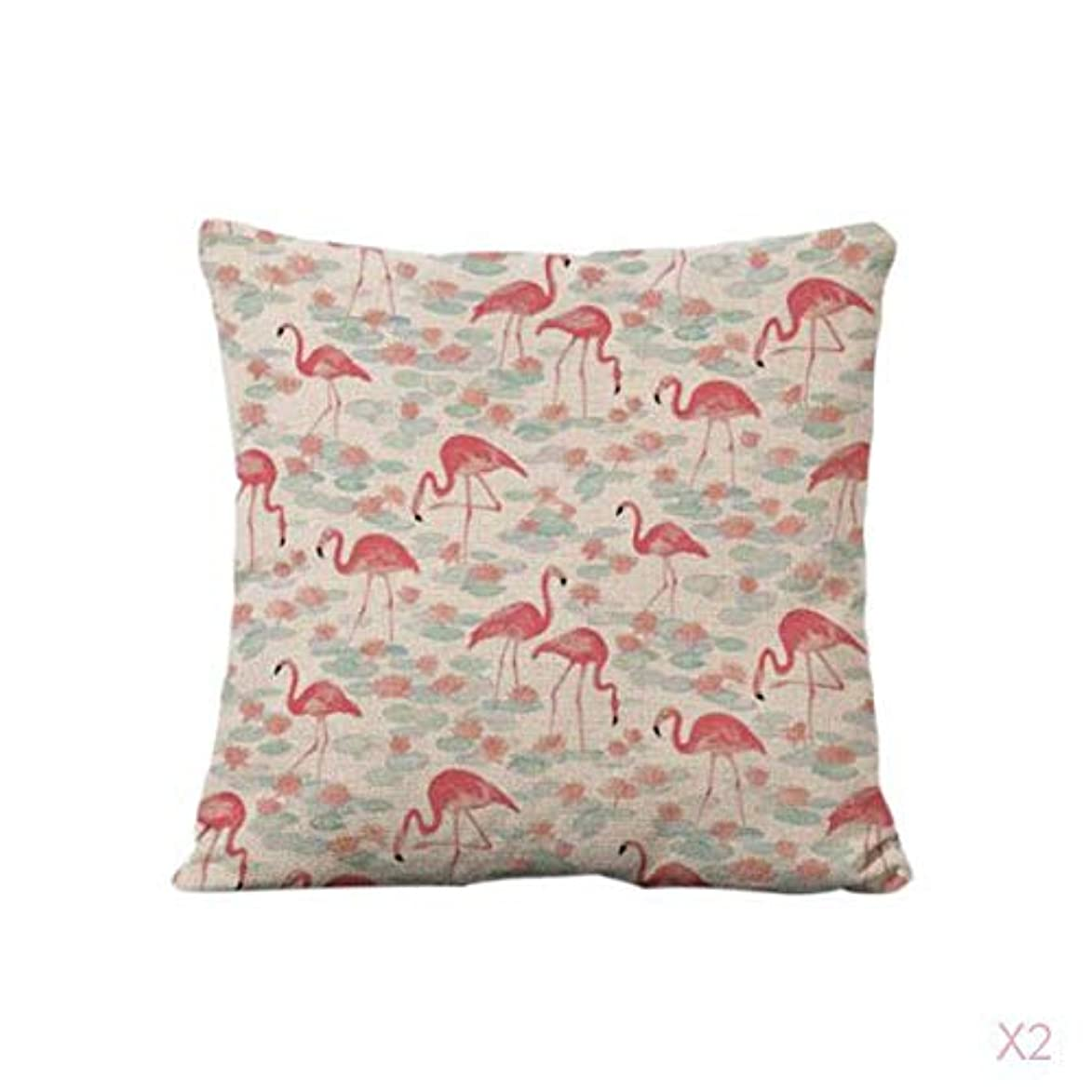 促す参加するゼリーFutuHome コットンリネンスロー枕カバークッションカバーソファ家の装飾フラミンゴ#2