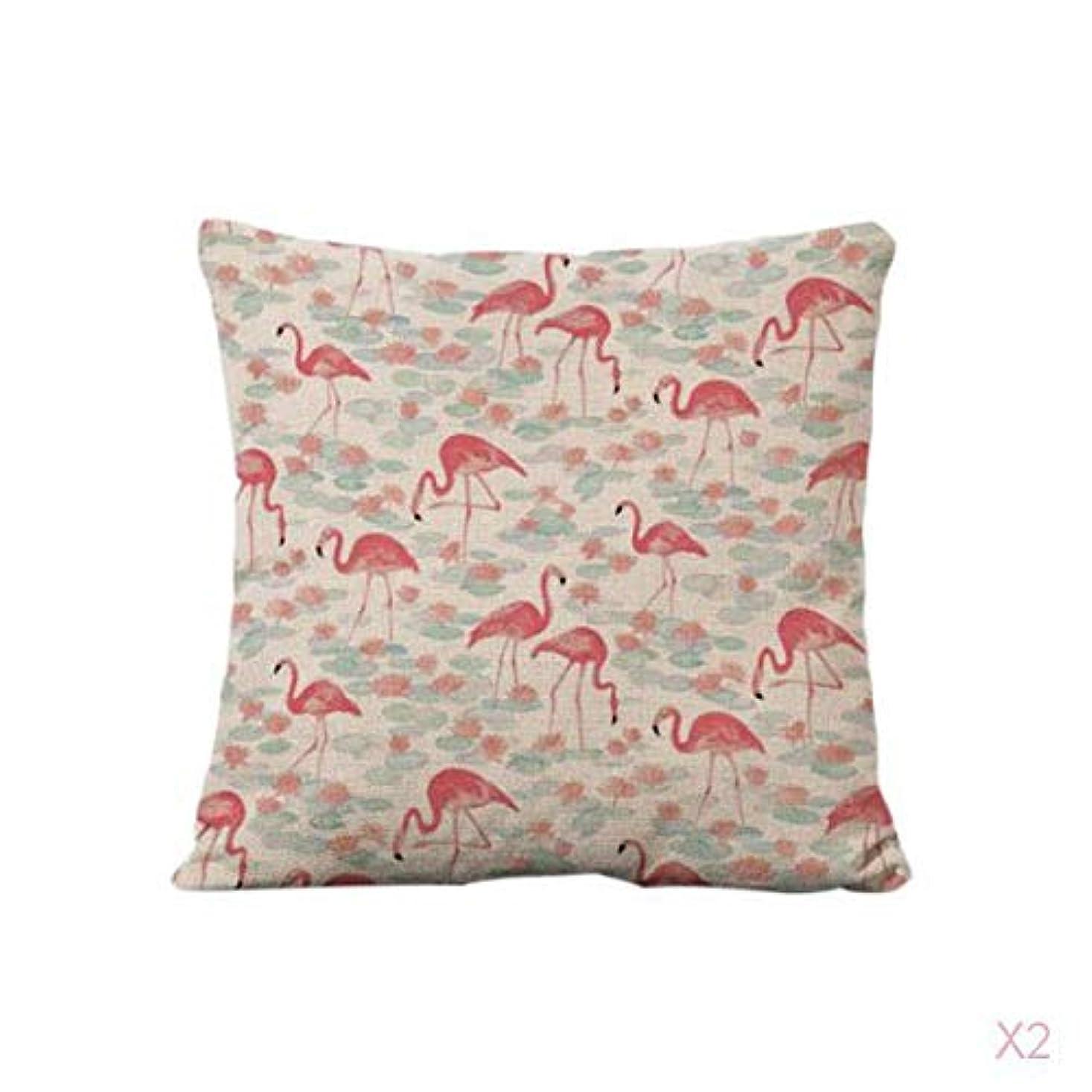 頬影響力のある興味FutuHome コットンリネンスロー枕カバークッションカバーソファ家の装飾フラミンゴ#2