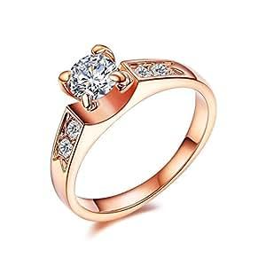 (レッドバリーズ) Redbarrys ファッション 4本爪 ジルコニア リング 指輪 レディース 婚約指輪 K18 ピンクゴールド メッキ 日本サイズ 14号