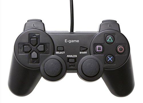 【E-game】 Playstation2 アナログコントローラ DUALSHOC2 (PS1/PS2 振動対応) クロス & 日本語説明書 & 1年保証付き